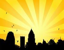 Le soleil de stationnement de ville Photographie stock