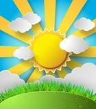Le soleil de vecteur avec le fond de nuages Image libre de droits