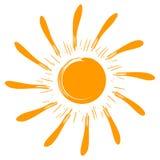 Le soleil de vecteur d'isolement par art Image stock