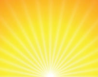 Le soleil de vecteur sur le fond jaune Photographie stock libre de droits