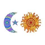 Le soleil de Zentangle, la nouvelle lune et l'étoile dirigent des symboles illustration stock