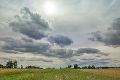 Le soleil derrière les nuages gris dans le ciel, l'horizon et des rayures de champ photo libre de droits