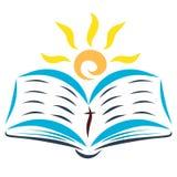 Le soleil est brillant avec la bible ouverte illustration stock