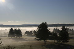 Le soleil et brouillard de matin au-dessus de terrain de golf Image stock