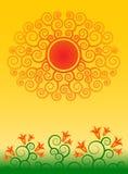 Le soleil et fleurs abstraits Photos stock