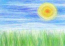 le soleil et herbe manuscrits illustration de vecteur