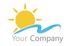 Le soleil et l'eau de logo Photographie stock