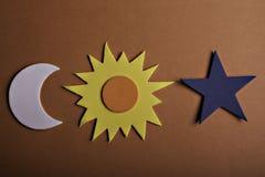 Le soleil et lune d'étoile Images libres de droits