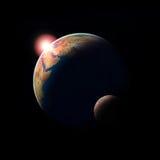 Le soleil et lune de la terre de planète Photos stock