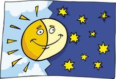 Le soleil et lune drôles illustration stock