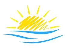 Le soleil et mer de logo Images stock