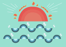 Le soleil et vague mignons Photo stock