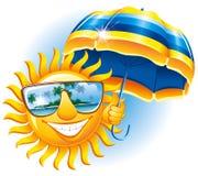 Le soleil gai avec un parapluie illustration stock