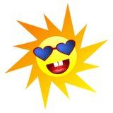 Le soleil heureux de sourire jaune avec l'icône d'émotion de personnes d'Emoji de yeux de forme de coeur émotion c d'expression d illustration stock