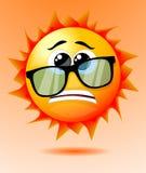 Le soleil inquiété mignon de bande dessinée Images libres de droits