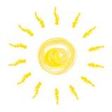 Le soleil jaune dessiné sur le fond blanc 2 Photos stock