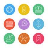 le soleil, mobile, argent, Web, recherche, ancre, message, batterie illustration stock