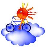 Le soleil monte une bicyclette par les nuages illustration stock