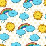 Le soleil, nuage et arc-en-ciel de esquisse drôles Bande dessinée sans couture de vecteur Photographie stock libre de droits