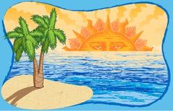 Le soleil, océan, et palmier tirés par la main de vecteur Image stock