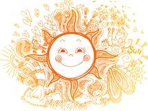 Le soleil orange, griffonnages sketchty illustration de vecteur