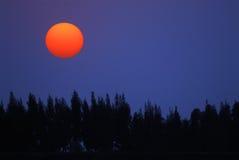 Le soleil rouge sur le ciel bleu Image stock