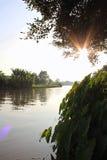 Le soleil se couche Images libres de droits