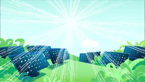 Le soleil se déplace à travers le ciel et illumine les panneaux solaires dans les domaines banque de vidéos