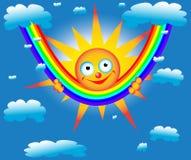 Le soleil sur un arc-en-ciel Images libres de droits