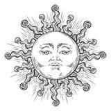 Le soleil tiré par la main d'art de style antique Vecteur chic de conception de tatouage de Boho illustration de vecteur