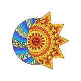 Le soleil tiré par la main, nouvelle lune et étoile pour l'anti page de coloration d'effort Illustration Stock