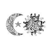 Le soleil tiré par la main, nouvelle lune et étoile pour l'anti page de coloration d'effort Illustration de Vecteur