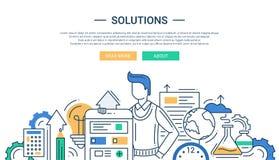 Le soluzioni allineano l'insegna piana di progettazione con gli strumenti di affari e del maschio Immagini Stock Libere da Diritti