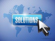 Le soluzioni si abbottonano e cursore sopra una mappa di mondo Fotografia Stock Libera da Diritti