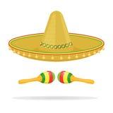 Le sombrero mexicain avec des maracas dirigent l'illustration d'isolement sur le fond blanc Photos stock