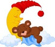 Le sommeil d'ours de nounours sur la lune Photo stock