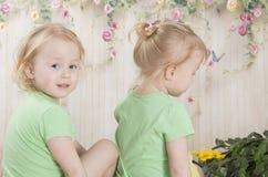Le sorelle gemellate in gru gemellano le sorelle in magliette verdi Fotografie Stock Libere da Diritti