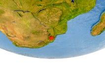 Le Souaziland en rouge sur le modèle de la terre Image libre de droits