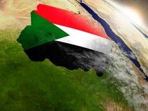 Le Soudan avec le drapeau en Soleil Levant illustration de vecteur