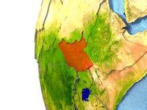 Le Soudan du sud sur le globe illustration libre de droits