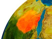 Le Soudan sur le globe Images libres de droits