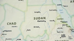 Le Soudan sur une carte avec Defocus banque de vidéos