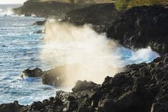 Le Souffleur or a natural geyser at Reunion Island. Close to Saint Leu city Royalty Free Stock Images