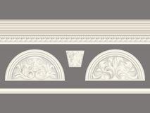 Le soulagement classique crème et la corniche ont placé l'ensemble d'éléments d'isolement et architectural illustration stock