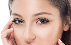 Le sourcil de femme d'oeil observe des mèches photographie stock