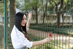 Le sourire chinois d'étudiante de lycée de l'Asie de belle beauté apprécient le temps gratuit sur le ballon de rouge de jaune de  photo libre de droits