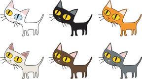 Le sourire de chat de vecteur et le caractère debout font colorer beaucoup le fond blanc d'isolement illustration de vecteur