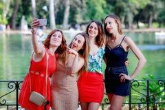 Le sourire de filles et prennent un selfie ensemble Grimaces, clin d'oeil et signe Photos libres de droits