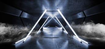 Le souterrain étranger de garage de Sci fi de lampes au néon de fumée de fond de couloir de vaisseau spatial graphique sombre ble illustration libre de droits