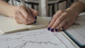 Le spécialiste féminin écrit dans le carnet regardant des diagrammes tout en se reposant dans le bureau banque de vidéos
